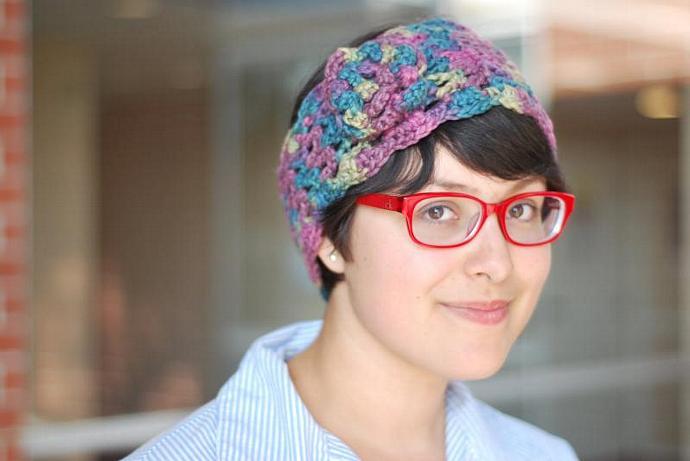 Crocheted Earwarmer, Headwrap, Hairband in multicolored Organic Cotton