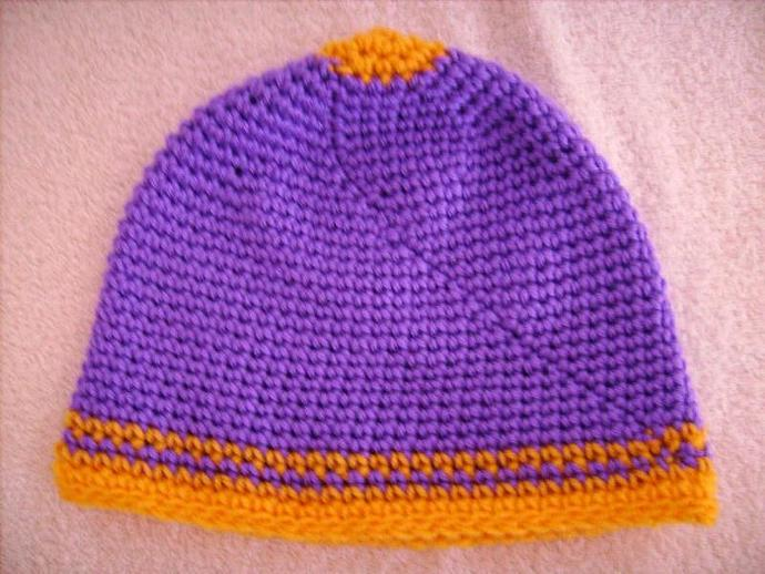 Crochet Beanie in Purple and Gold Team Colors
