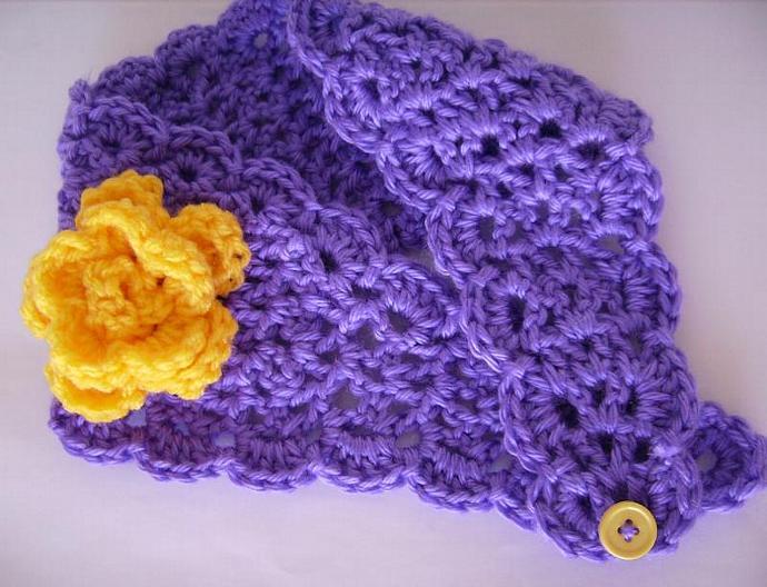 Purple and Gold Crocheted Hairband, Earwarmer