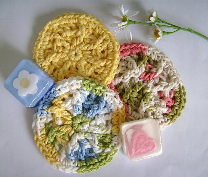 Custom Crochet Special Set of One Large and One Mini Soap Dish TIE DYE BLUE