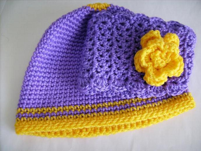 Beanie and Hairband SET in Purple and Gold