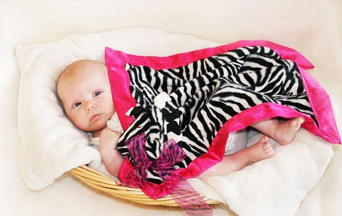 Zebra Lovey Blanket, Satin, Baby Blanket, Stuffed Animal, Baby Toy - Customize