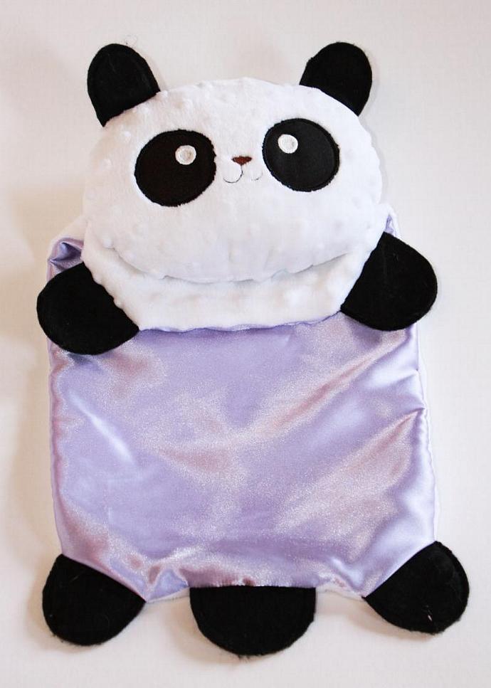 Minky Panda Bear Security Blanket, Lovey Blanket, Satin, Baby Blanket, Stuffed