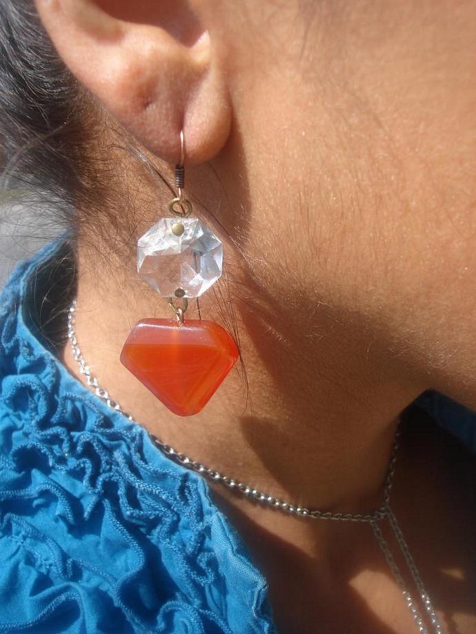 Chandelier Carnelian Earrings