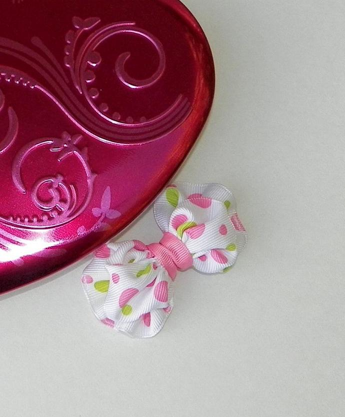 Hair Bows-Small Pink Dots Bow Tie for Little Girls Pink Dots Clip Bow