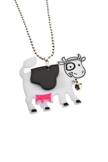 Happy Cow Necklace,Plexiglass Kawaii Necklace,Lasercut Acrylic,Gifts Under 25