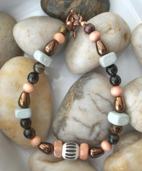 Wood and Copper Handmade Beaded Bracelet and Earrings Set