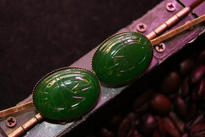 Green Scarab - Bobby Pin Set - Vintage Acrylic Cabochon