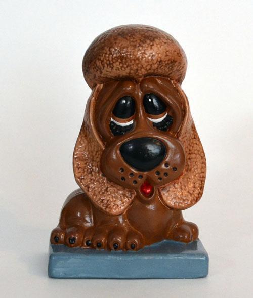 Brown Sad-Eyed Ceramic Dog