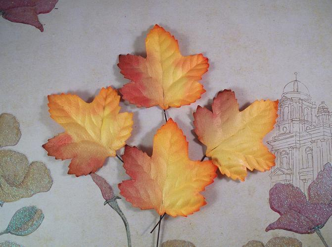 """25 Two Tone Maple Mulberry Paper Leaves 1-3/4"""" X 1-7/8"""""""