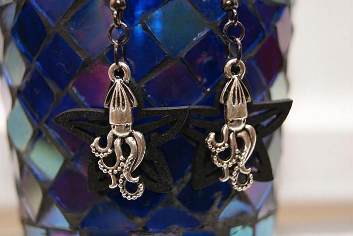 Octopus Earrings - Wood Starfish Charm - Silver Black