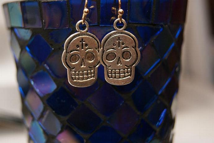 Silver Skull Earrings - Charm Pendant