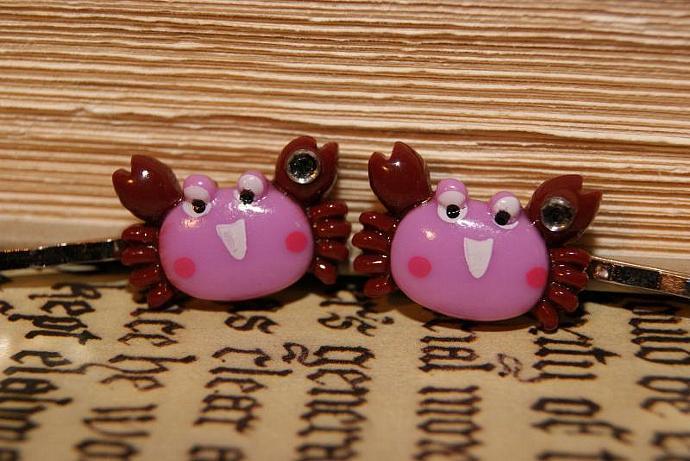 Purple Crab Bobby Pins