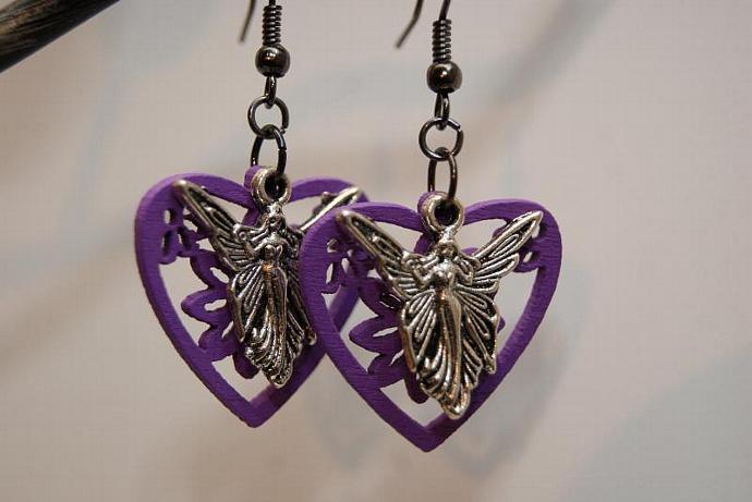 Purple Fairy Earrings - Wood Flower Charm