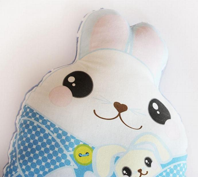 Blue Bunny Rabbit, Baby Toy, Plush toy, Minky pillow, Stuffed animal, pillow