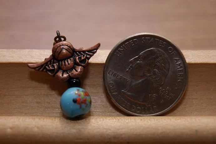 Earth Angel Earrings - Charm Pendant - Vintage Japanese Bead