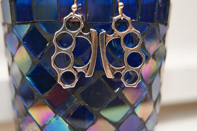 Knuckle Dusters - Silver Gold - Charm Earring