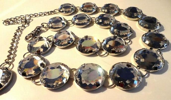VINTAGE 80s Big Faceted Mirrored Lucite Stones silver tone Chain Belt