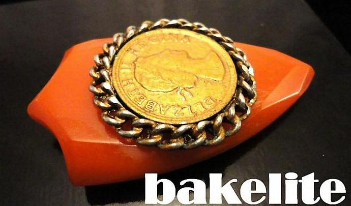 VINTAGE 40s Egyptian Revival Pumpkin Bakelite Dress clip with Coin Pin/brooch