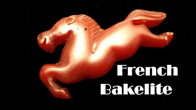 VINTAGE 40s Deep Red French Bakelite Prancing Horse pin brooch