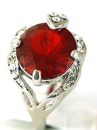 VINTAGE 70s Deco Inspired 18K White GP Lab Ruby and man made diamond/ Zircons
