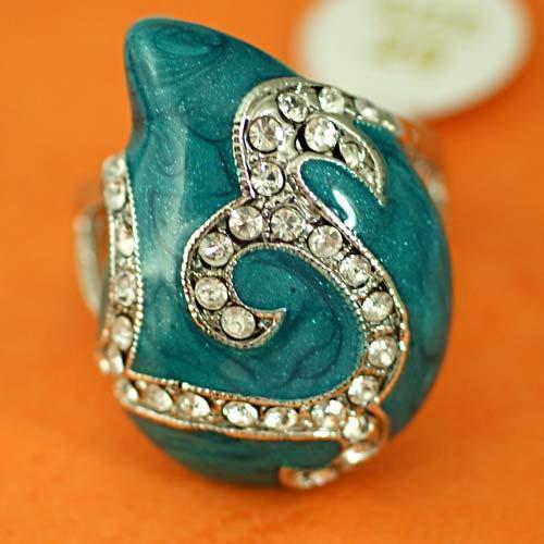 """VINTAGE 80s """"Dali"""" style 18k White GP Turquoise Enamel with Diamante Zircons"""