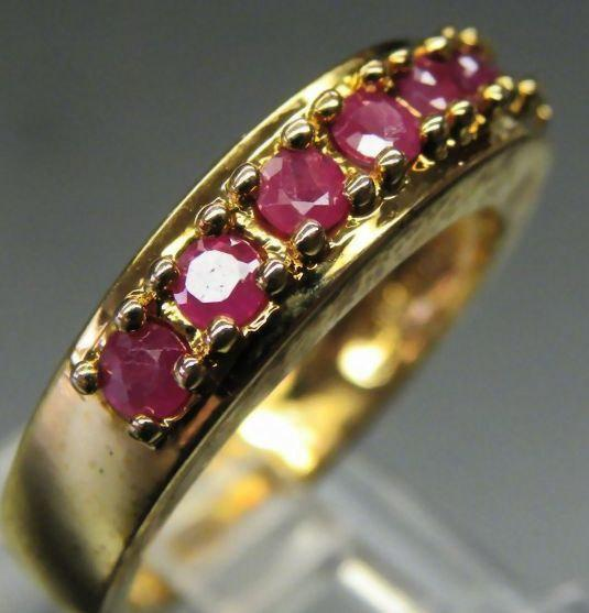 VINTAGE 70s Gold Plated Sterling Silver Genuine Ruby Channel Style ring size 7