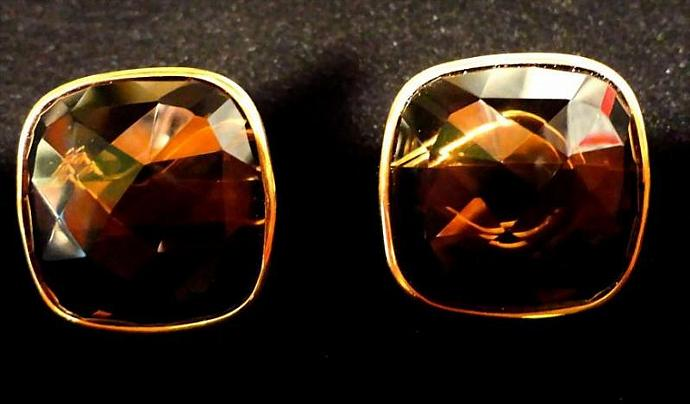 VINTAGE Estate Sale Huge Faceted Topaz stones in 14K yellow gold setting pierced