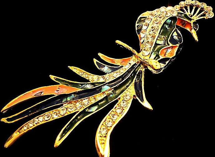 VINTAGE 80s Large Gold Tone Colorful Enamel Rhinestone peacock Brooch/Pin