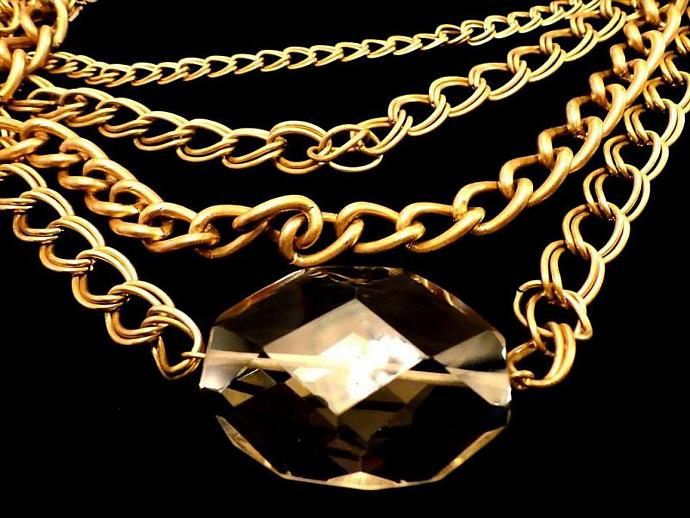 VINTAGE 60s Four Strands of Gold Tone linked chains with Large faceted topaz