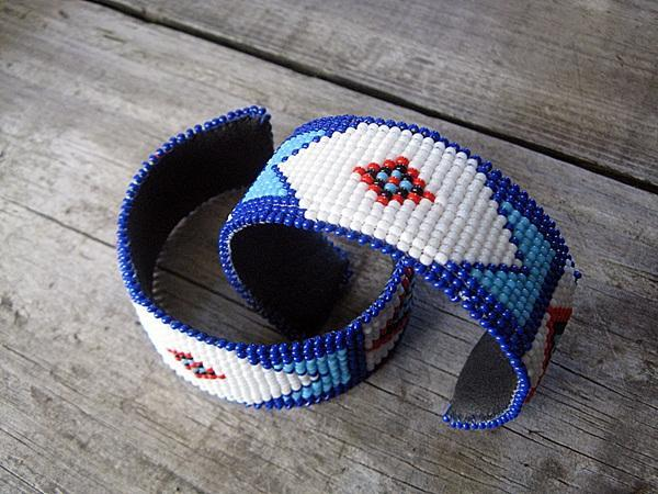 15a30596d3a Billy Jack Pattern Hand Beaded Hatband AND 2 Cuff Bracelets ...