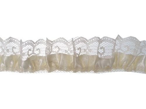 Medium Ivory Satin and lace trim 2yd