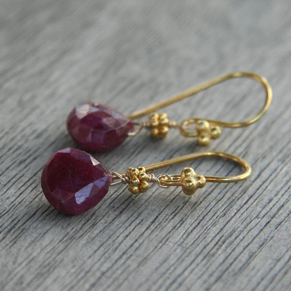 Ruby Drop and Gold Earrings II