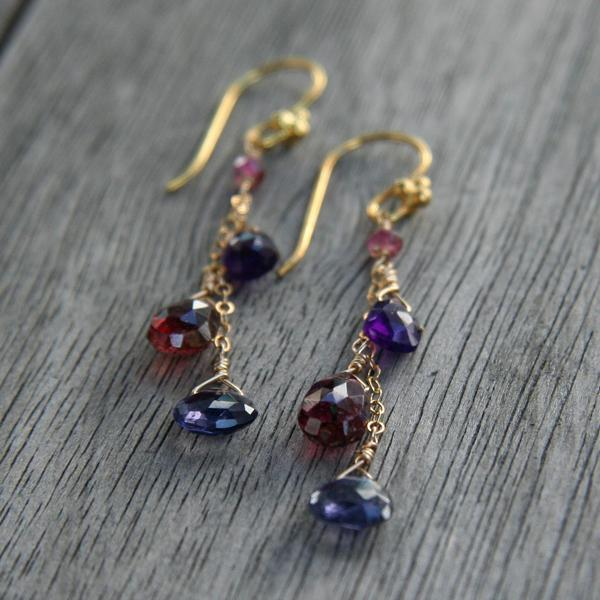 Cascading Iolite, Tourmaline and Amethyst Drops Earrings