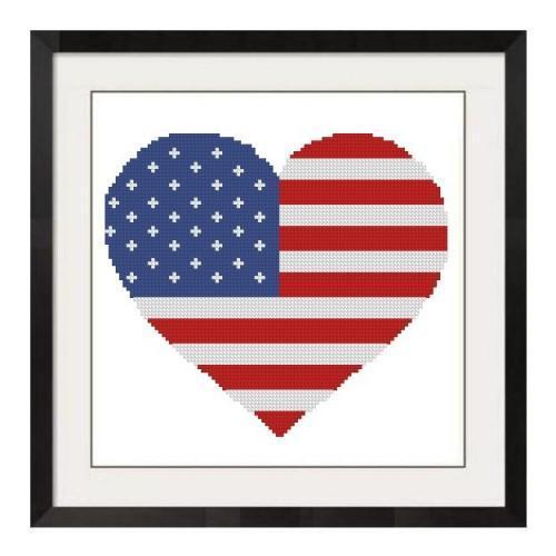 ALL STITCHES - HEART FLAG CROSS STITCH PATTERN .PDF -167