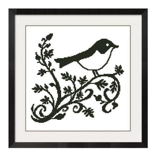 ALL STITCHES - BIRD ON TREE BRANCH CROSS STITCH PATTERN IN PDF -268