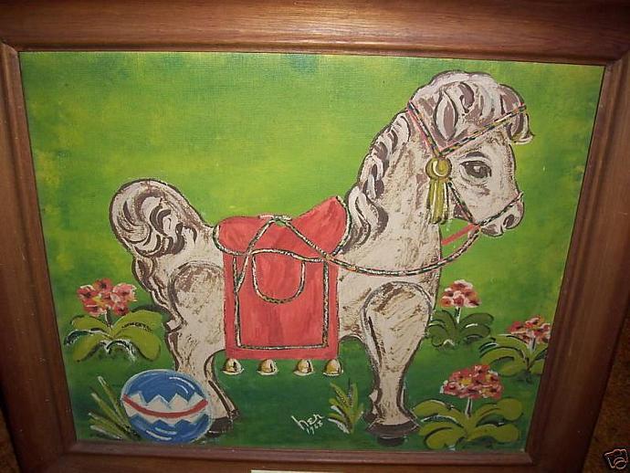 Folk Art Primitive Original Paintings My FIrst Pony/Horse-Signed
