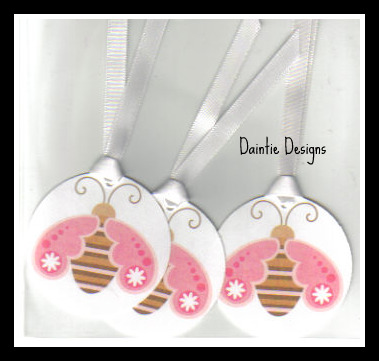 Sweet Pink & Striped Bee Tags Set of 3