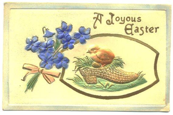 Antique Easter Postcard 1910s Chick in Shoe Heavily Embossed