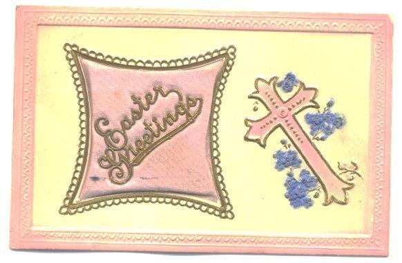 Vintage Easter Postcard 1910s Cross and Puffy Pink Pillow