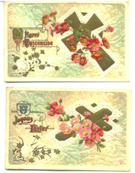 Antique Easter Postcards Set of 2 Gold Cross Red Flowers