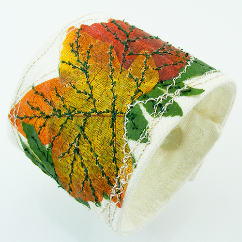 Fall Celebration Nature Wrist CUFF Burn Orange, Green Fabric Leaves, Double