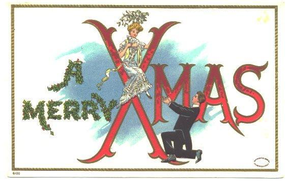 Vintage Christmas Postcard Man and Woman 1910s Large Letters
