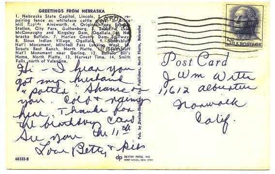 Vintage Greetings From Nebraska Map 1960s Postcard