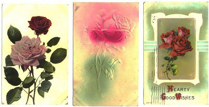 Vintage Postcards Red Pink Roses 1910s Greetings Lot of 3