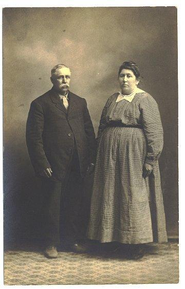 Vintage RPPC Old Couple Homesteaders 1910s Real Photo Postcard