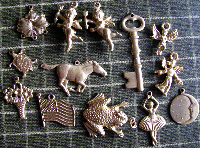 Brass Charms, Pendants, Findings Vintage Packet of 13