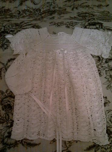 Crochet Christening Gown, Cap & Booties Set