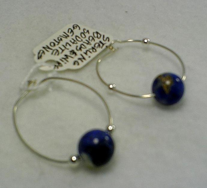 Sterling and Sodalite Hoops-Item # 0074