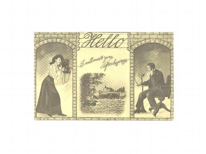Romance Postcard Vintage 1910s Couple Telephone Hello Bridge